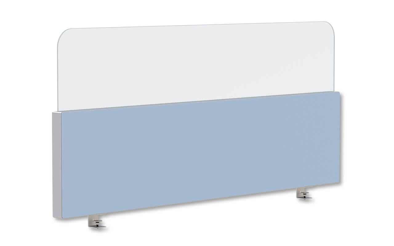 Schreibtischtopper Basic in 400mm Höhe mit einem 300mm hohem Acryltopper