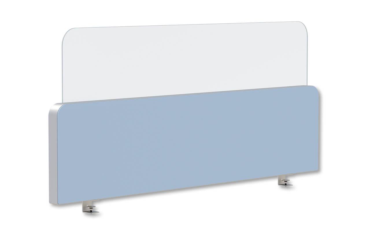 Schreibtischtopper Round 2 in 400 mm Höhe und mit oben abgerundeten Ecken. Darüber steckt ein 300 mm hoher Acryltopper mit oben abgerundeten Ecken.