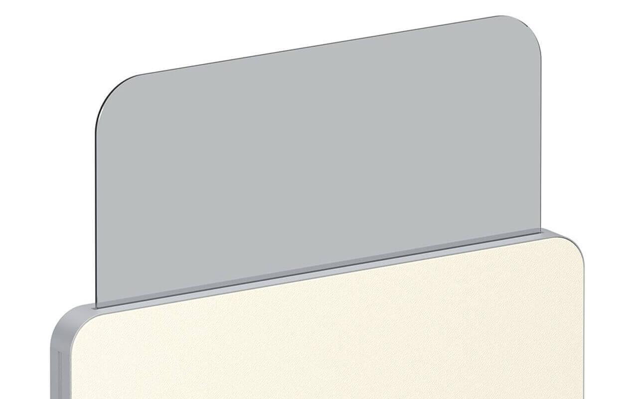 Trennwand Round 2 in gelb mit Acryltopper Lucia und Seitenflansch in aluminium - Oberkante der Trennwand und kompletter Acryltopper