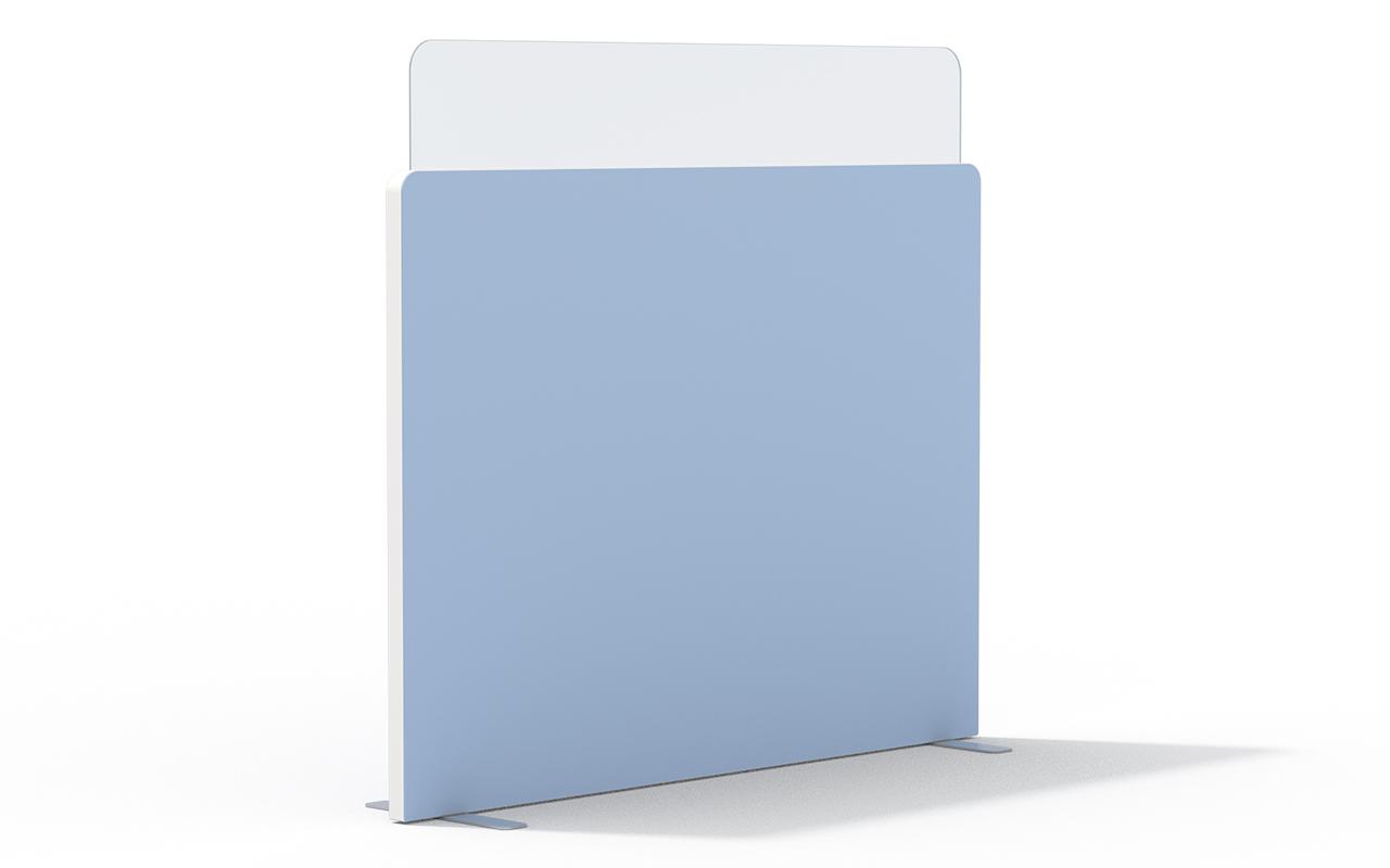 Trennwand Round 2 mit Acryltopper Lucia, Seitenflansch in weiß und Flachfüßen auf weißem Hintergrund
