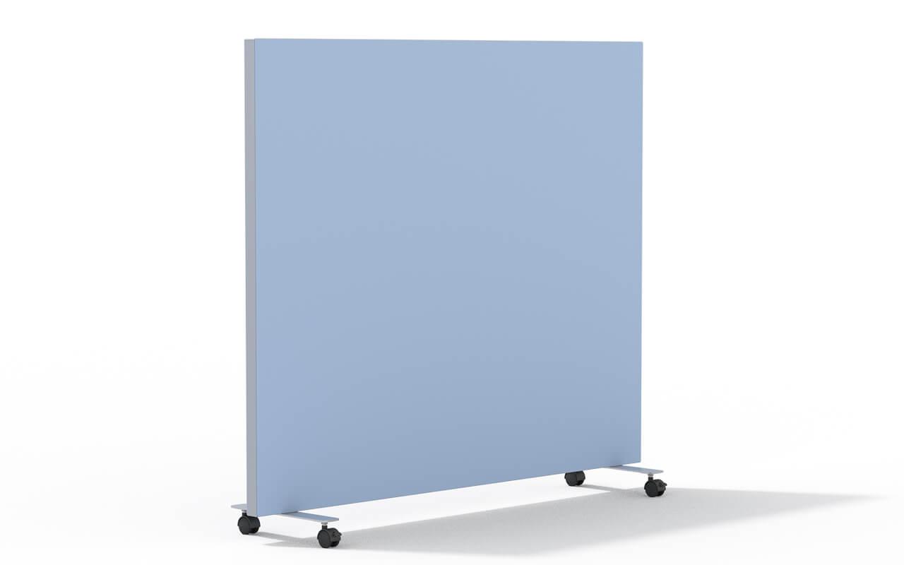 Trennwand basic Rollen in aluminium auf weißem Hintergrund