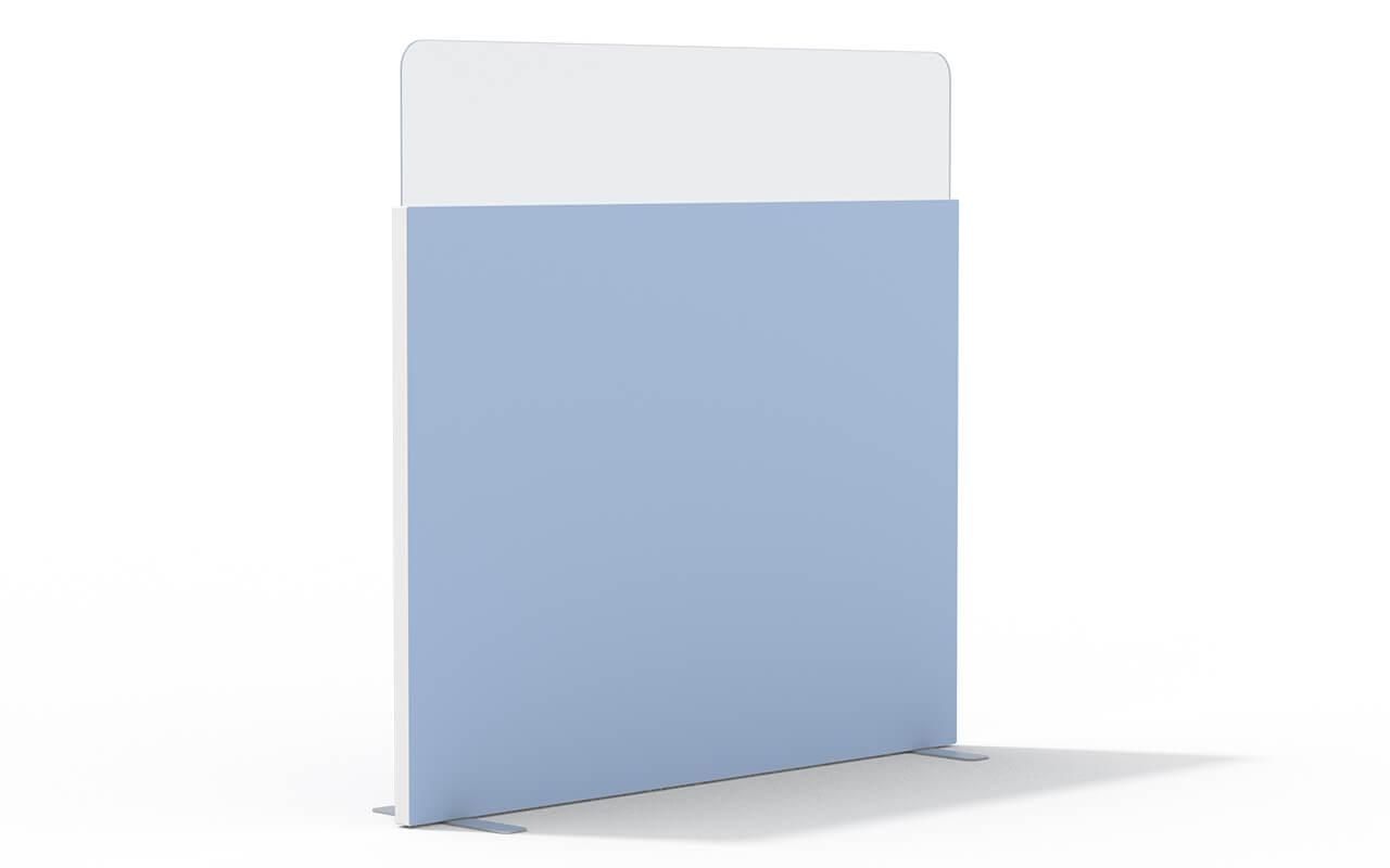 Trennwand basic mit Softecke und Acryltopper Lucia in 400mm mit Flachfüßen und Seitenflansch in weiß