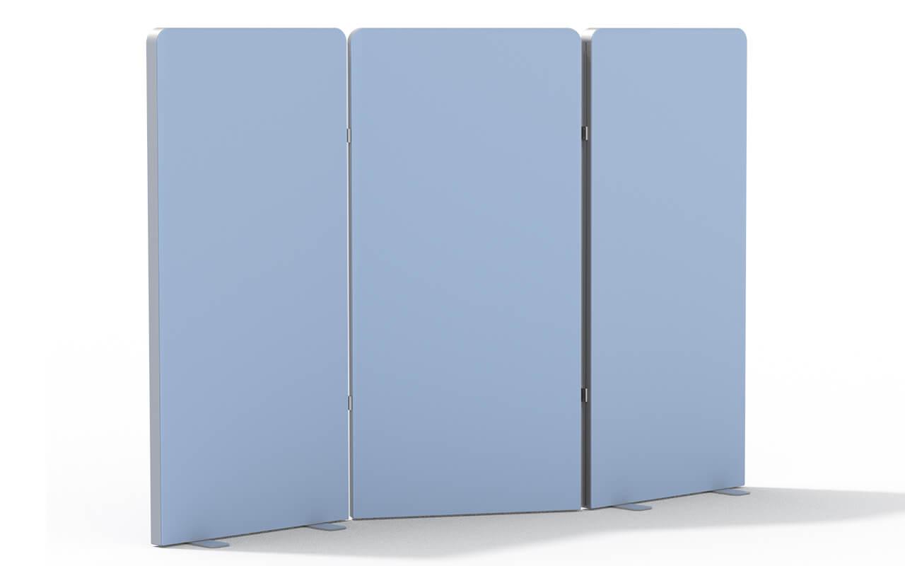 Paravent Trennwandsystem Round 2 bestehen aus 3 Trennwandteilen mit oben abgerundeten Ecken.