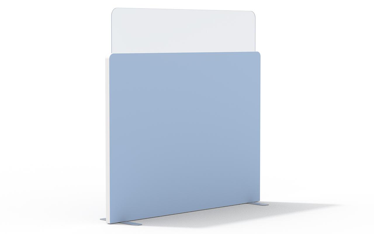 Trennwand Round 2 in 400mm mit Acryltopper Lucia, Seitenflansch in weiß und Flachfüßen auf weißem Hintergrund