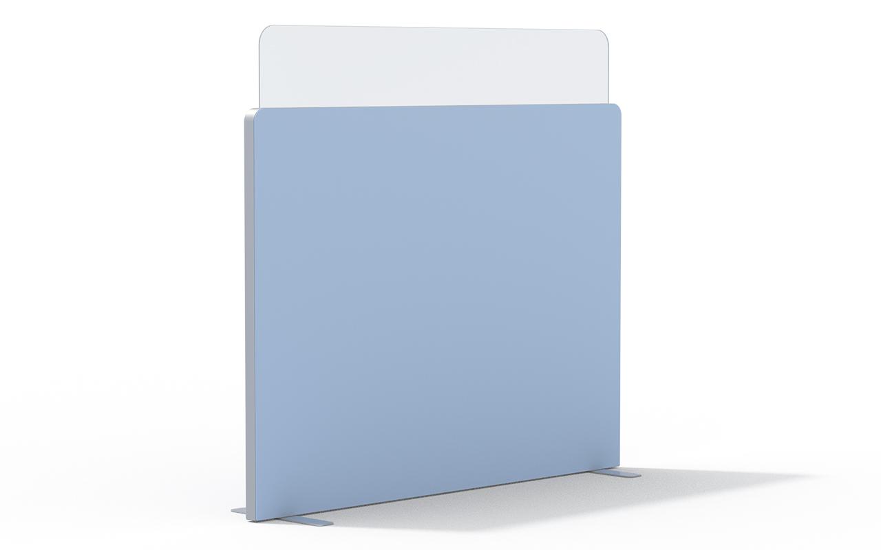 Trennwand Round 2 mit Acryltopper Lucia, Seitenflansch in aluminium und Flachfüßen auf weißem Hintergrund
