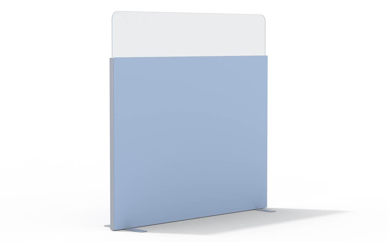 Trennwand basic mit Softecke und Acryltopper Lucia in 400mm mit Flachfüßen und Seitenflansch in aluminium