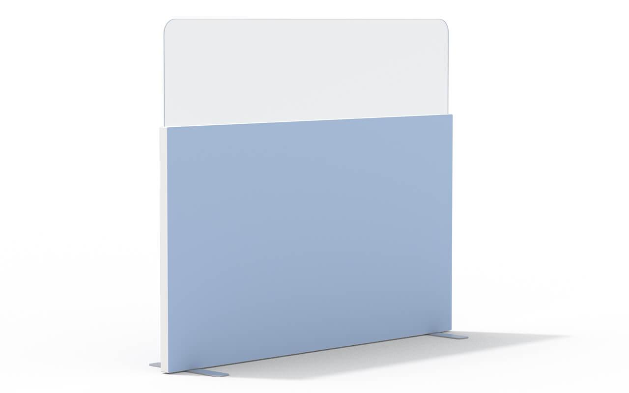 Trennwand basic mit Softecke und Acryltopper Lucia in 500mm mit Flachfüßen und Seitenflansch in weiß
